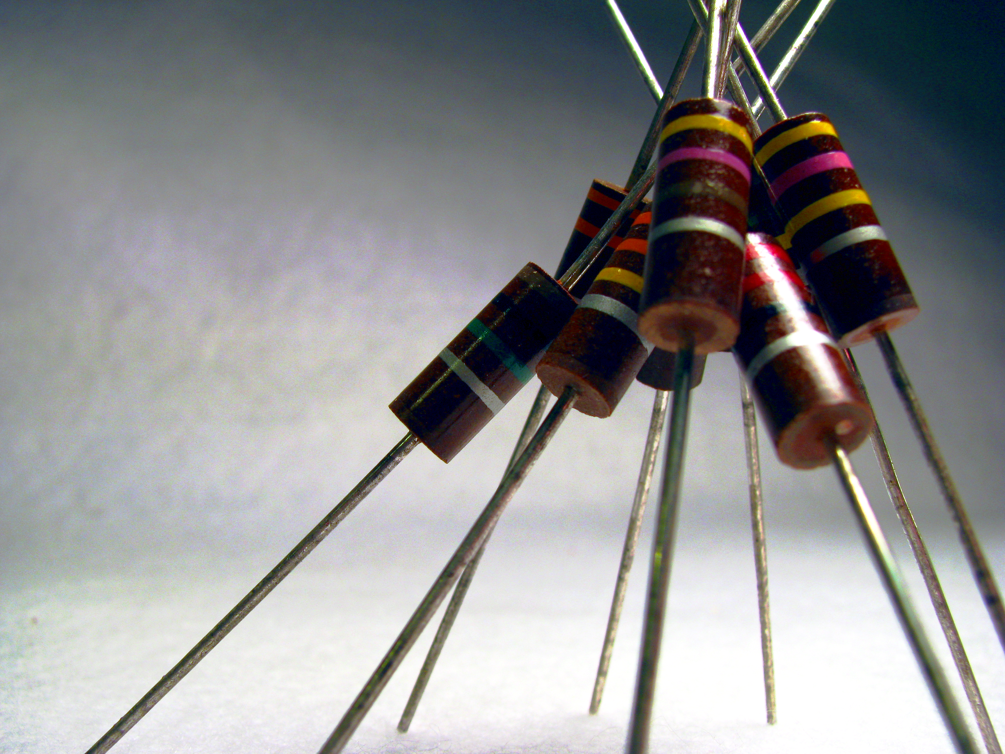 Image of through hole resistors stacked up together